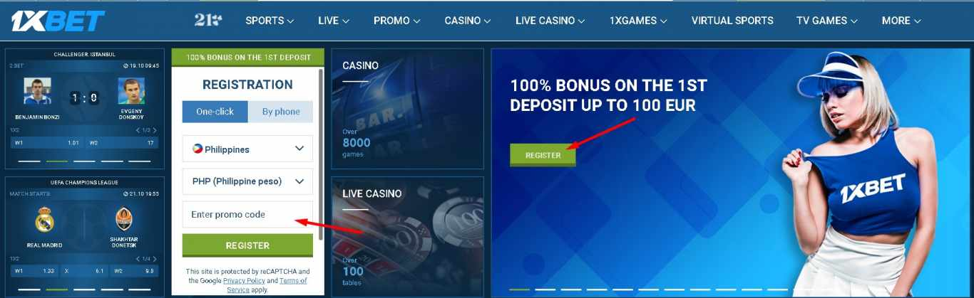 1xBet bonus account