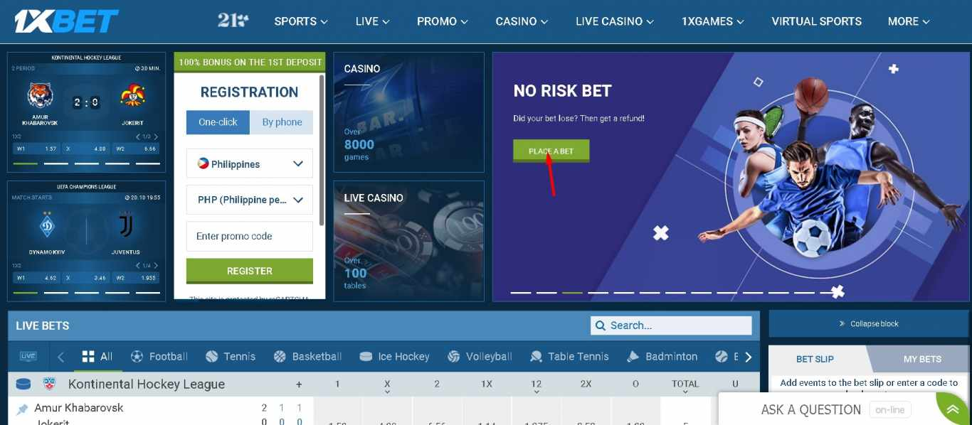 1xBet variety of bets